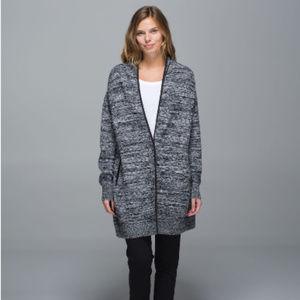 Lululemon Black White Cardi All Day Sweater Sz S